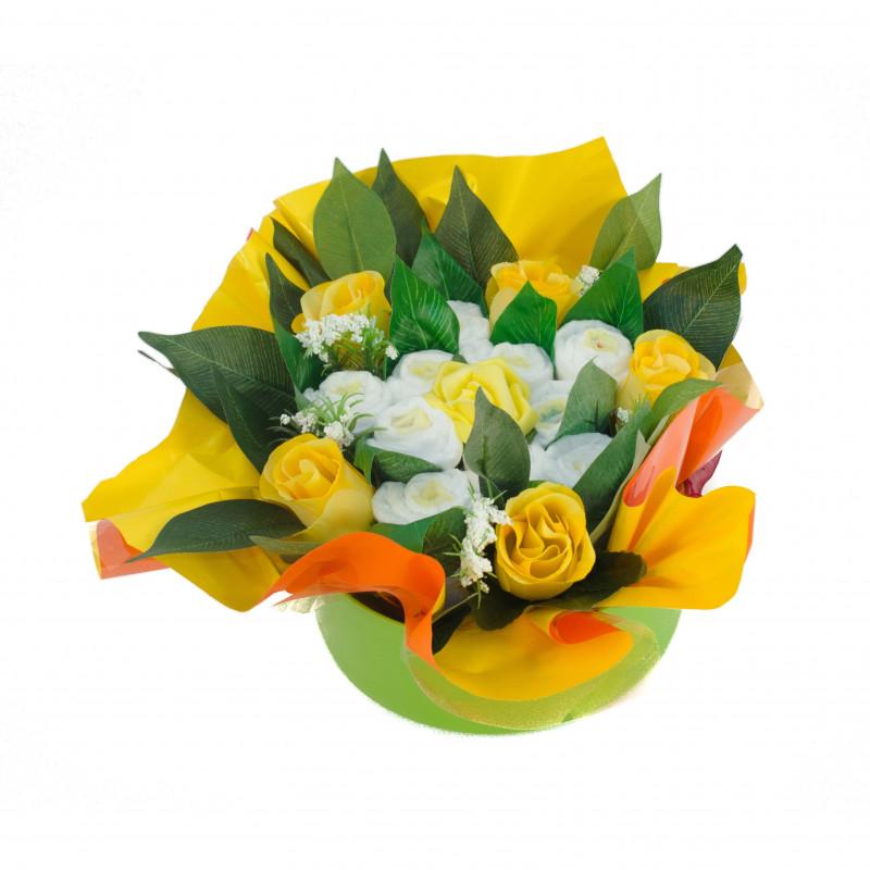 baby shower bouquet gateau de couches jaune