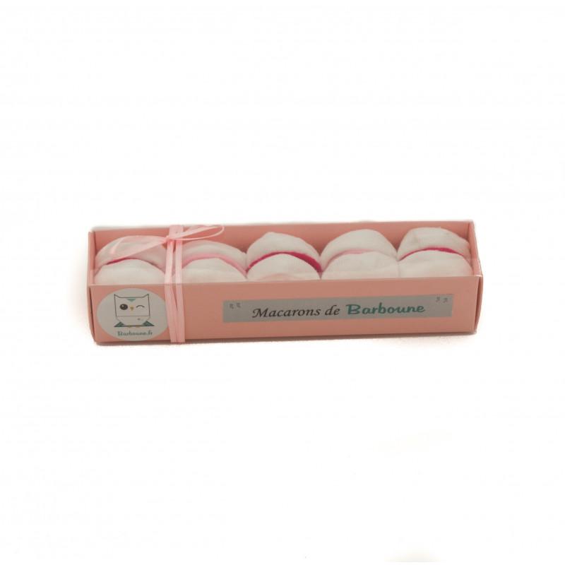 Macarons Chaussettes pour cadeau de naissance : bébé rose