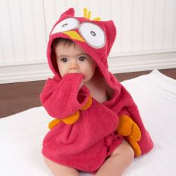 Sortie de bain CHOUETTE pour bébé - peignoir rose