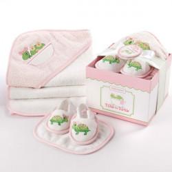 Ensemble de bain : Tortue rose coffret cadeau baby shower