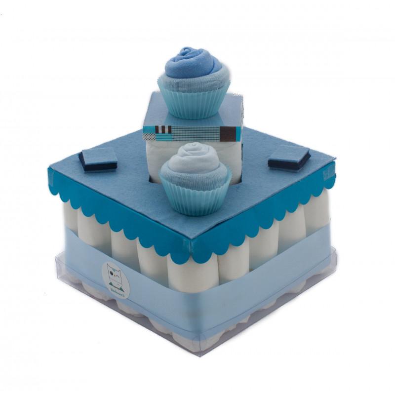 Gâteau de couches pour baby shower : Bleu bébé garçon