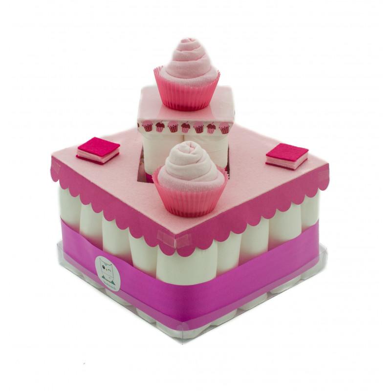 65633eae02734 gâteau de couches rose - bébé fille baby shower et cadeau naissance
