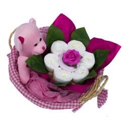 Panier de naissance fleuri : Fille