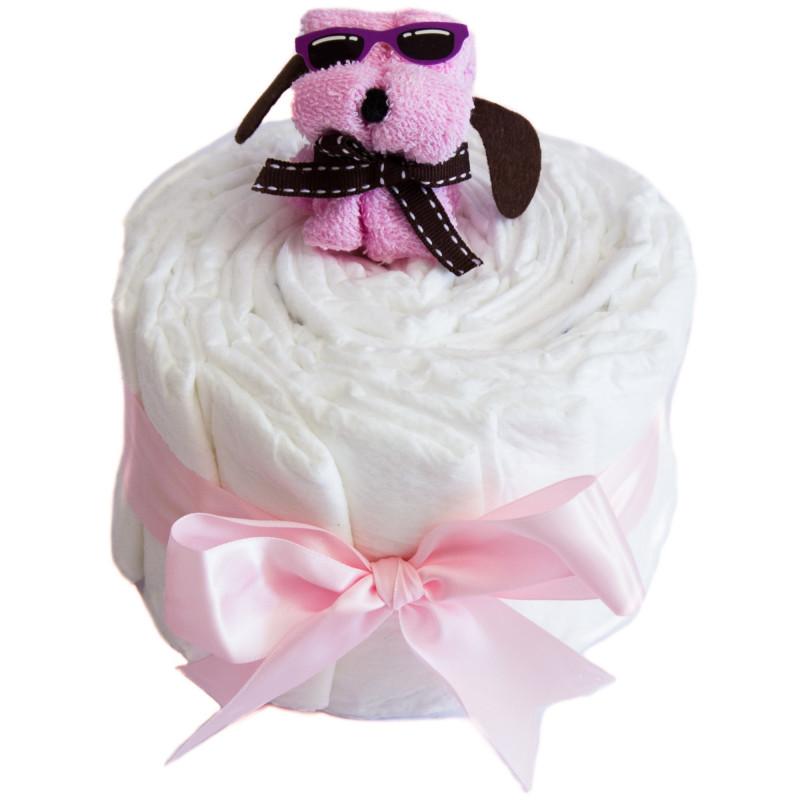 Gâteau de couches et son chien : rose
